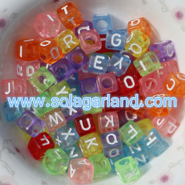 6MM Clear Square Cube alfabeto lettera perline per gioielli Making
