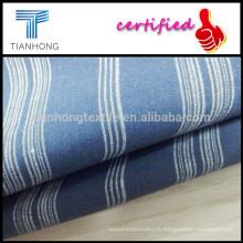 Sur mesure chaud-vente coton Dark Blue Stripe Shirting armure toile, tissu pour vêtements/Light coton doublure tissu