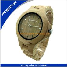 Relojes de madera del reloj de madera puro al por mayor de encargo más nuevos del diseño 2016