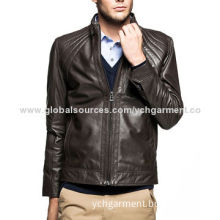Men's Leather Jacket with Stand Collar and Quilting Detail