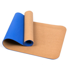 Cheap 8mm high elasticity durable easy to clean lightweight double layer tpe cork yoga mat with logo printing