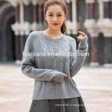 chandail de tricot de câble de cachemire pour des femmes