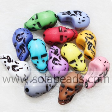 2014 New 11*22MM Halloween Skull Colors Beads Charm Bulk