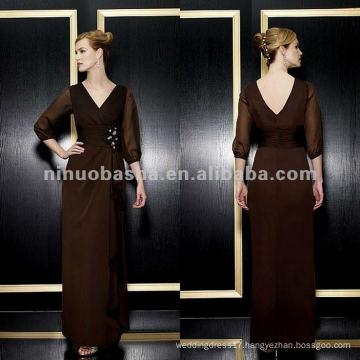 NY-1970 Tiffany chiffon a-line with v-neck mother dress