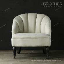 Chaise en bouleau de couleur blanche certifiée par feu de haute qualité de contenu de tissu