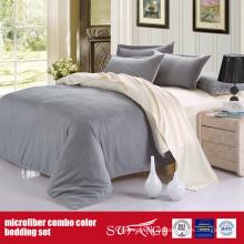 Conjunto de folhas de microfibra combinado de luxo cor sólida confortável