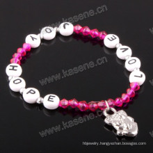 Fashion Bracelet, Letter Beads with Alloy Medal
