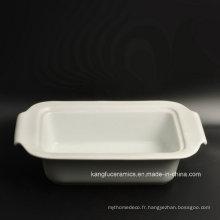 Plaque en porcelaine glacée blanche simple bon marché