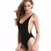 2018 горячей продажи купальники женщин сплошной цвет сексуальный спинки купальник эластичный купальник