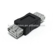 Hochwertige schwarze USB 2.0 Eine Buchse zu einem weiblichen Konverter Adapter Kuppler Neu