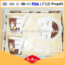 Термостойкий фарфоровый стаканчик с кружкой для кофе и блюдцем