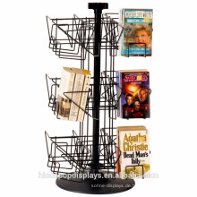 Hersteller Design Bücher Einzelhandel Rotating 18 Pocket Table Top Wire Tischplatte Display Racks