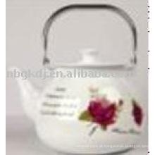 Chaleira de porcelana com design completo e cabo de baquelite