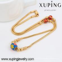 42916 gros indien bijoux en or de mode 18 k délicat pendentif multicolore de perle et petit collier en alliage de cuivre de perle d'or