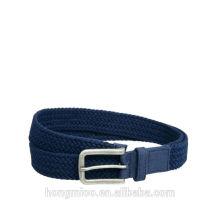 Blue leather trim elastic belt golf belt Braid Belt