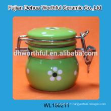 Récipient de stockage en céramique pour peinture à la main, récipients en céramique avec couvercle