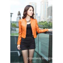 Ladies Pink Vintage PU Leather Jacket (CW-WLJ-A14)