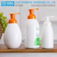 500ml 550ml 250ml redondo forma espuma bomba botella del hdpe mano jabón dispensador plástico