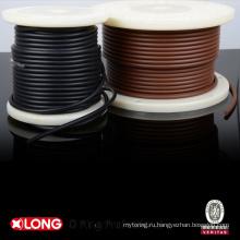Кольцевой шнур черного цвета с коричневым оребрением с роликовым уплотнением