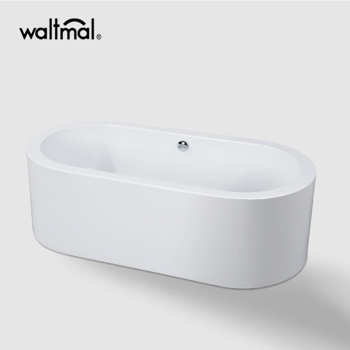 One Piece Oval Freestanding Bathtub in White