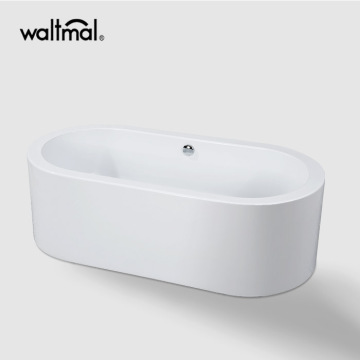 One Piece Oval Bathtub Freestanding di White