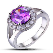Purple Clors Crystal Casting Cut CZ Wedding Ring