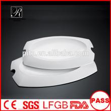 Heißer Verkauf Weißes haltbares benutztes Gaststätte, das Platten / einzigartige Form-Abendessenplatte dient
