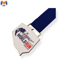 Dark blue ribbon enamel silver medal