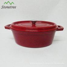 Casserole de cuisine en fonte avec revêtement en émail de forme ovale
