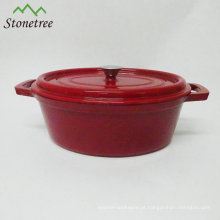 Caçarola dada forma oval da cozinha do ferro de molde do esmalte