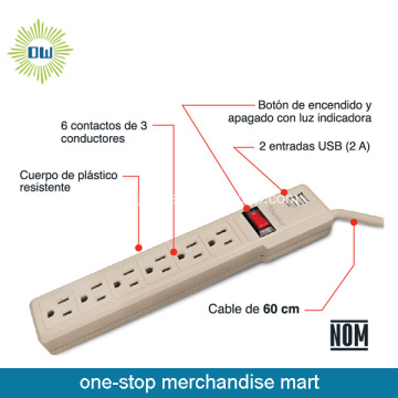 Multiple Outlet Power Strip With 2 USB