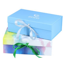 Wholesale Custom Logo Cardboard Paper Shoe/clothes/T-shirt Packaging Gift Boxes With Ribbon Closure