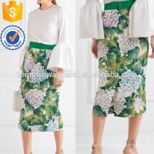 Floral impressão de seda Charmeuse Midi saia fabricação atacado moda feminina vestuário (TA3047S)