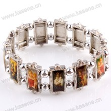 Bracelet religieux religieux en métal avec photo modifiable de Saints