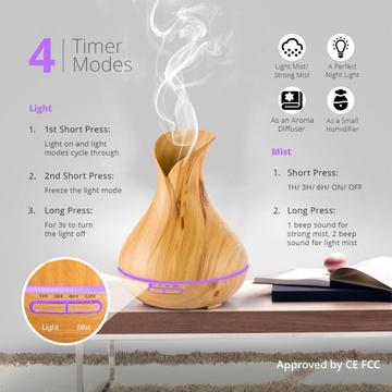 400ml Aromatherapy Wood Grain Ultrasonic Air Oil Humidifier