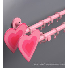 Forme de coeur Rose Finial Double Pole Kids Curtain Rod