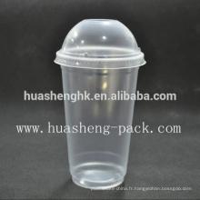 Tasse jetable en plastique claire claire du plastique 16oz de vente chaude avec le couvercle en plastique