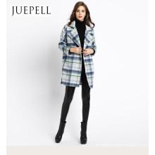 2016 Nueva Wemen Diseño de Moda Chaqueta de Lana de Alta Calidad Larga Lana Viscosa Abrigo de Poliéster Fábrica Precio Al Por Mayor chaqueta del OEM en Guangzhou