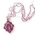 Mode Boho Bling Crochet perles collier en cristal