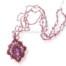 Mode Boho Bling Crochet Perlen Kristall Halskette