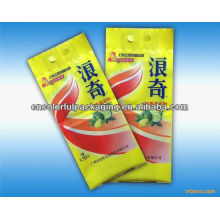 Easy Dizolve Blue Film Header Hang Hole OPP / PE bolsas de envasado de detergente con impresión personalizada