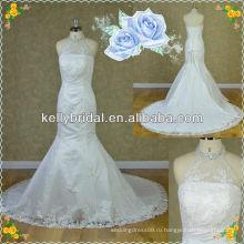 Популярный стиль русалка высокая qaulity кружева свадебные с зашнуровать назад
