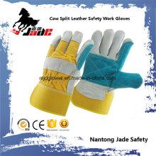 Double Palm Cowhide Split Industrial Safety Luva de trabalho em couro de mão