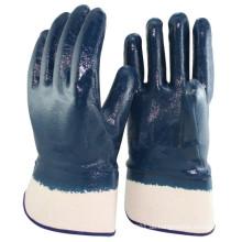 NMSAFETY Nitril Rubber Coated Handschuhe mit NITRILE-Sicherheitsmanschetten, glatt, blau / weiß