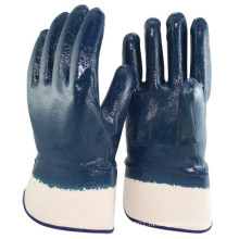 NMSAFETY Нитрильного каучука полностью покрытые перчатки НИТРИЛ манжет безопасности, гладкий, синий/белый