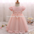 2017 new summer baby girl flower girl dress western wear short sleeve laced toddler girl dress for birthday party