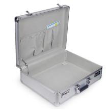 Exquisita caja de herramientas de aluminio de plata multiusos