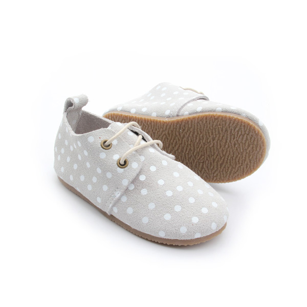 Rubber Sole Polkadot Leather Kid Shoe Wholesales