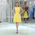 2017 instock items/customized party wear evening gowns sleevless short design yellow evening dress wholesale