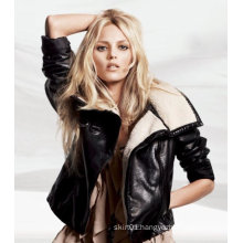 Jacket Wholesale 2015 Fashion Zippered Fur Collar Leather Jacket